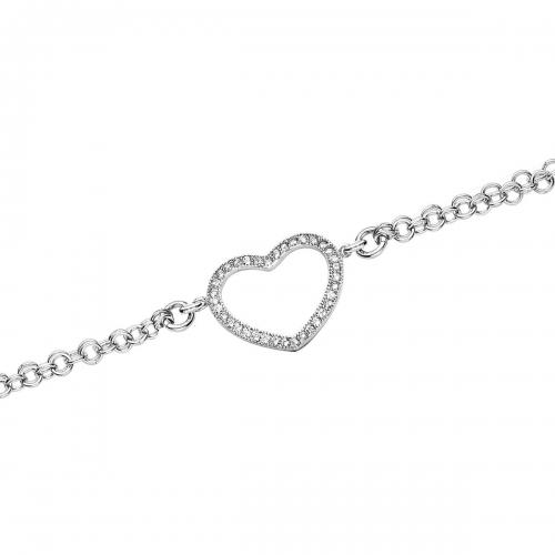 Claudine Silver Heart Chain Bracelet