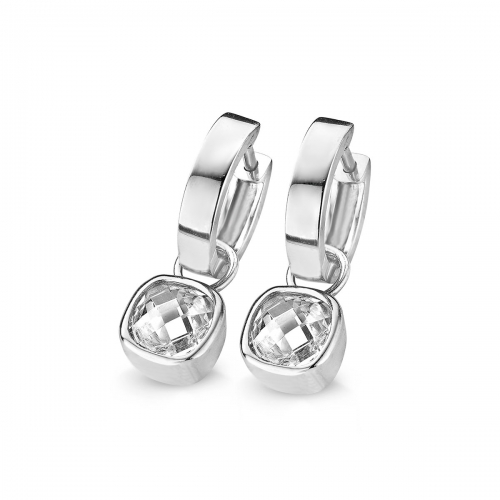 Claudine 8mm CZ Dangle Silver Folding Hoop Earrings