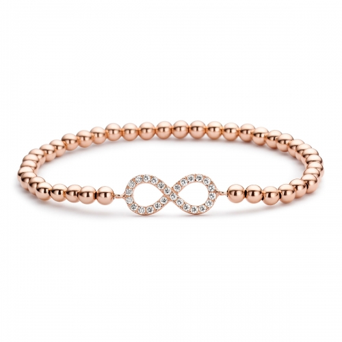 Rose Gold Plated  Infinity Beaded Bracelet