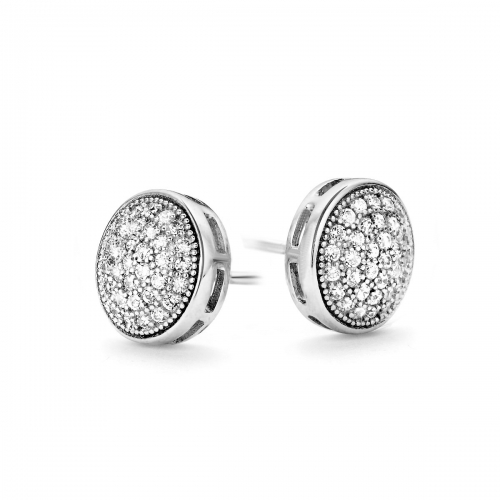 Claudine Round 9mm CZ Pave Stud Earrings