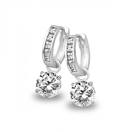 Claudine Silver CZ Hoop Earring with 8mm CZ Dangle