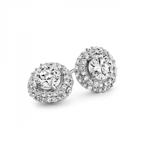 Silver Round Cut CZ Pave Surround Earrings