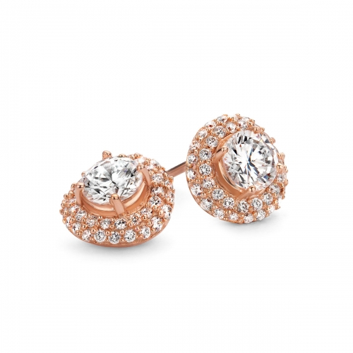 Rose Gold Plated Round Cut CZ Earring With Pave Surround