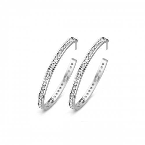 30mm Channel Set CZ Silver Hoop Earrings