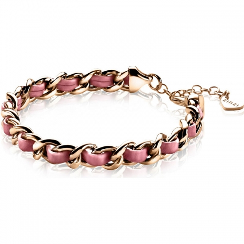 Zinzi Zinzi Rose Gold Plated Gourmet Bracelet With Soft Pink Cord