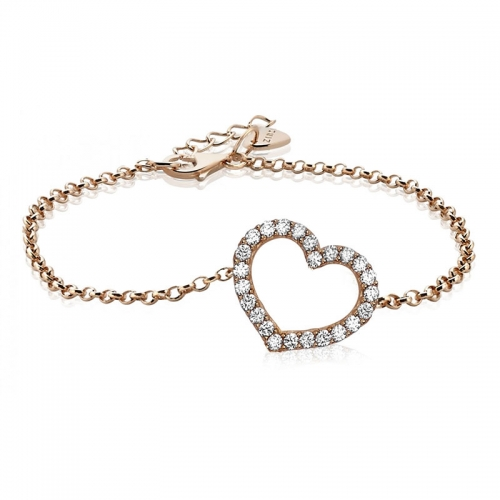 Zinzi Zinzi Rose Gold Plated Heart Bracelet