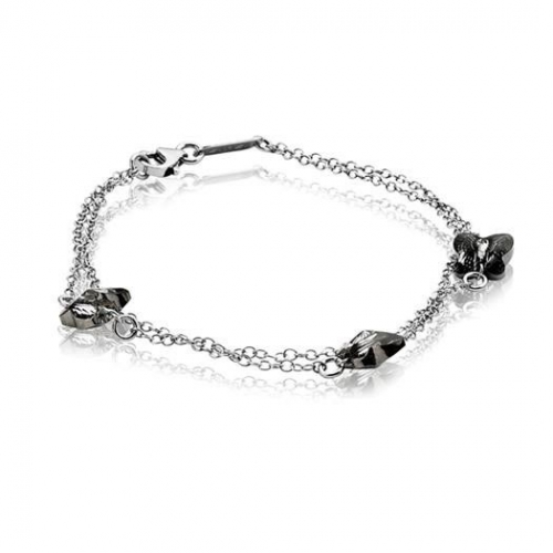 Zinzi Silver Bracelet With Grey Swarovski Crystals Butterflies