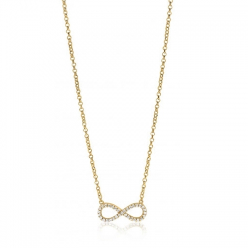 Zinzi Yellow Gold Infinity Necklace