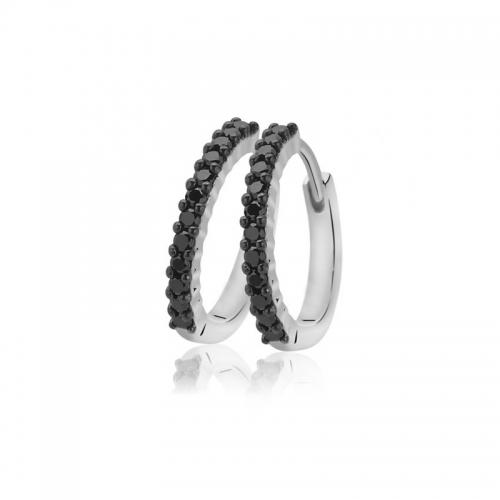 Zinzi Silver Black CZ Set Earring Hoops