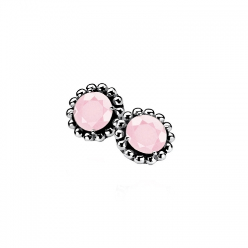Zinzi Silver Earrings With Pink Zirconia
