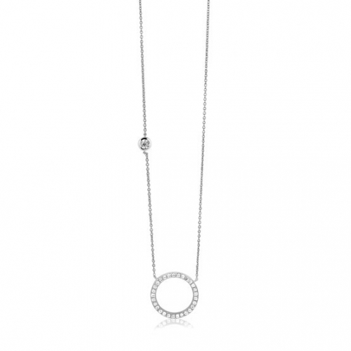 Zinzi Silver CZ With Circle Necklace
