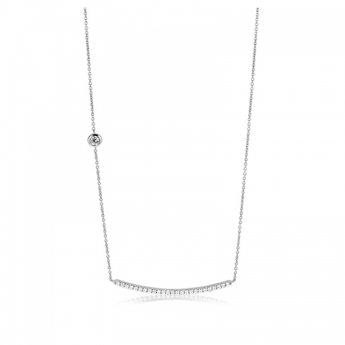 Zinzi Silver CZ Bar Necklace