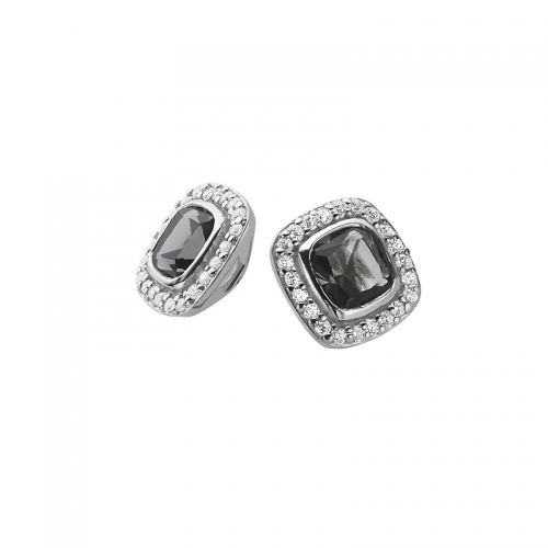 Zinzi Silver Earrings With Dark Grey and White Zirconias