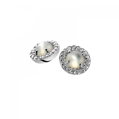 Zinzi Silver Earrings With White Pearl