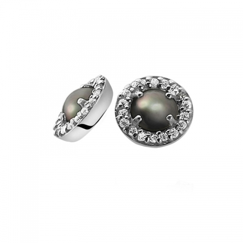 Zinzi Silver Earrings With Dark Grey Pearl