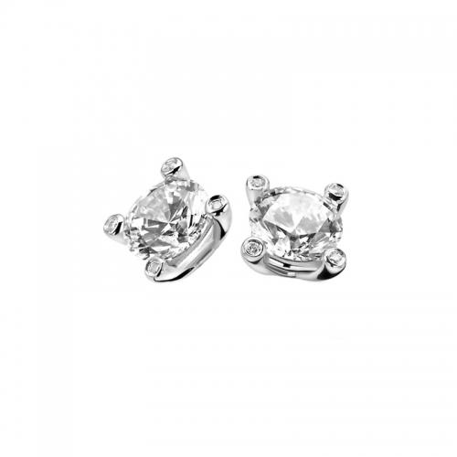 Zinzi Silver Earring Studs With White Zirconia
