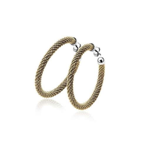 Zinzi Gold Plated Silver Textured Hoop Earrings