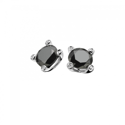 Zinzi Silver Earring Studs With Black Zirconia