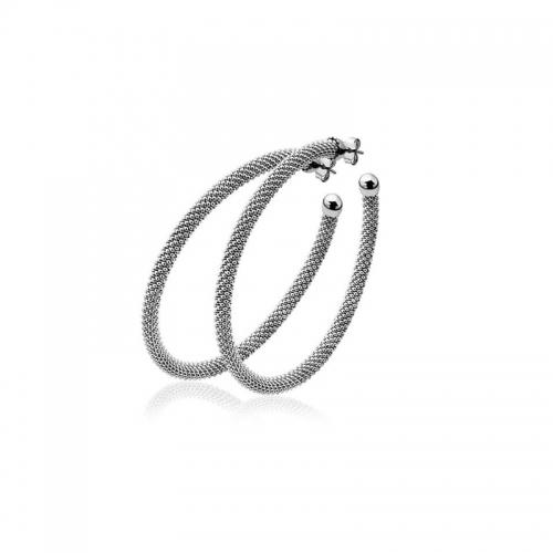 Zinzi Large Oxidised Silver Textured Hoop Earrings