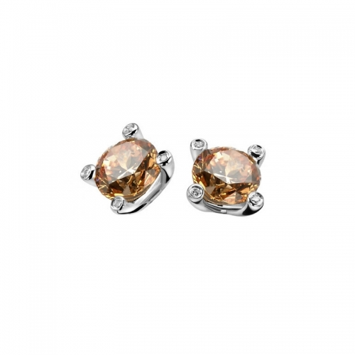 Zinzi Silver Earring Studs With Champagne Zirconia