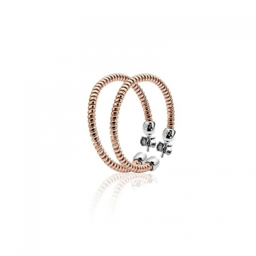 Zinzi Rose Gold Plated Twisted Hoop Earrings