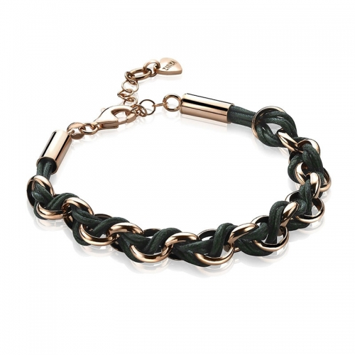 Zinzi Rose Gold Jasseron Link Bracelet with Green Cord