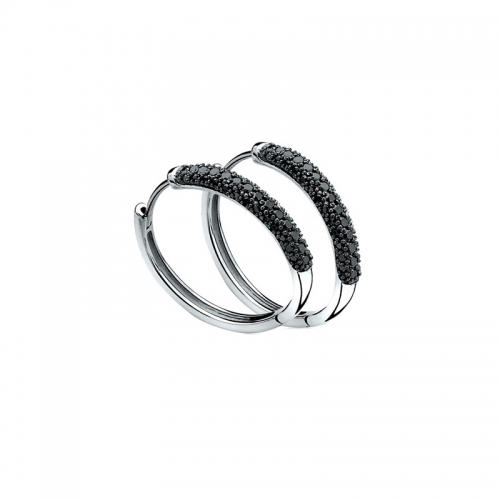 Zinzi Silver and Black Zirconia Pave Hoop Earrings