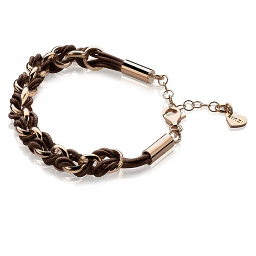 Zinzi Rose Gold Jasseron Link Bracelet with Brown Cord