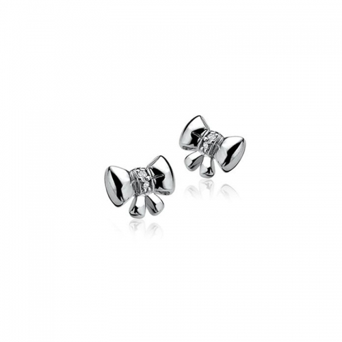 Zinzi Silver Bow Stud Earrings with White Zirconia