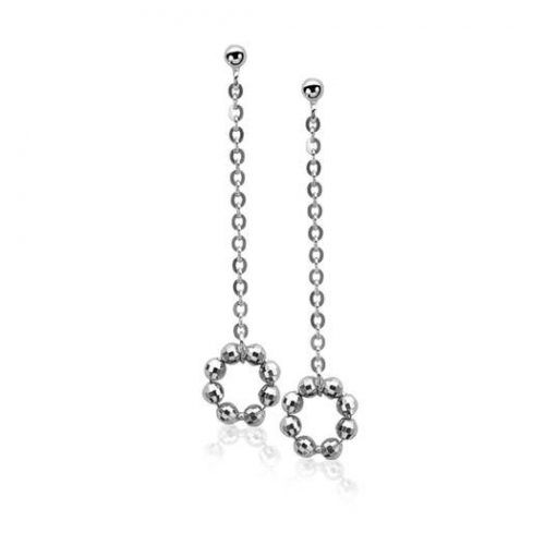 Zinzi Silver Globe Chain Dangle Earrings
