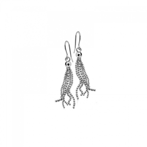 Zinzi Silver Beaded Strand Dangle Earrings