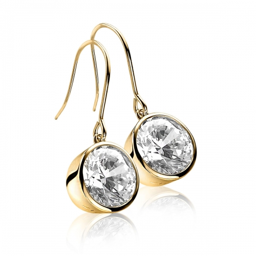 Zinzi Gold Plated Dangle Earrings With White Zirconias
