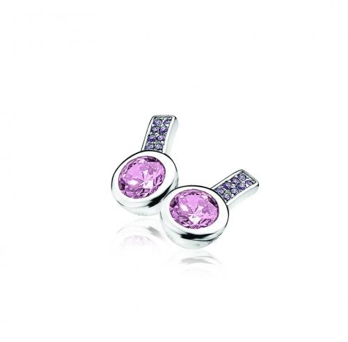 Zinzi Silver Earrings With Purple Zirconias