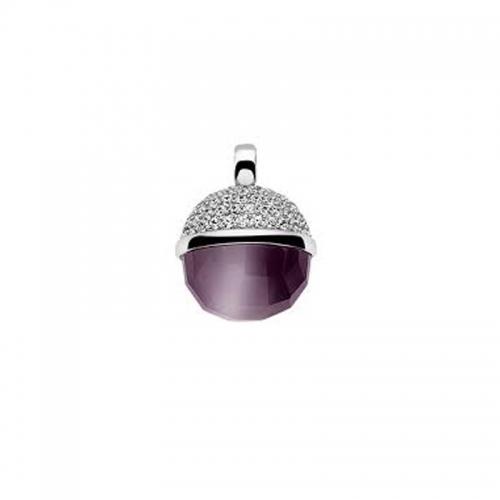 Zinzi Silver Ball Pendant with Purple Cats Eye