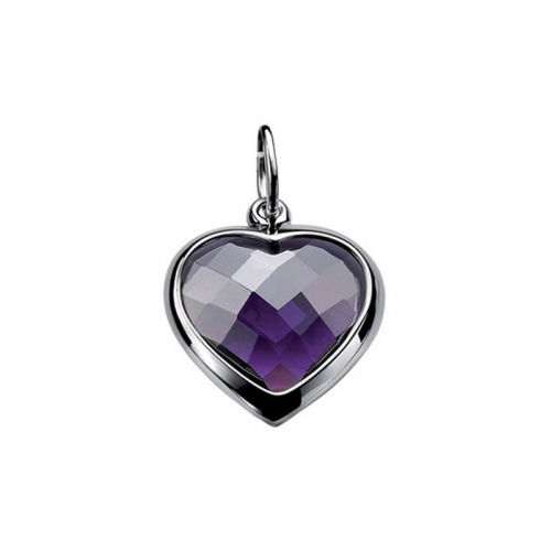 Zinzi Purple Zirconia Heart Pendant