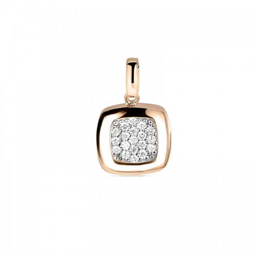 Zinzi Rose Gold Plated Square Pendant with White Zirconias