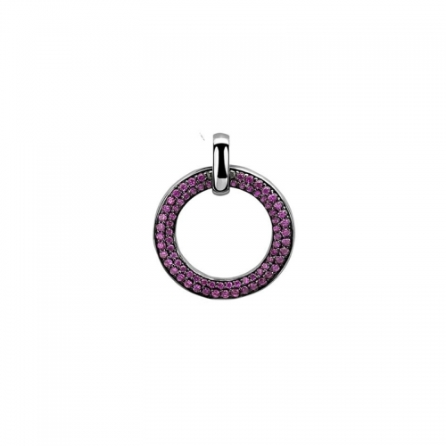 Zinzi Silver Circle Pendant with Pink Stones
