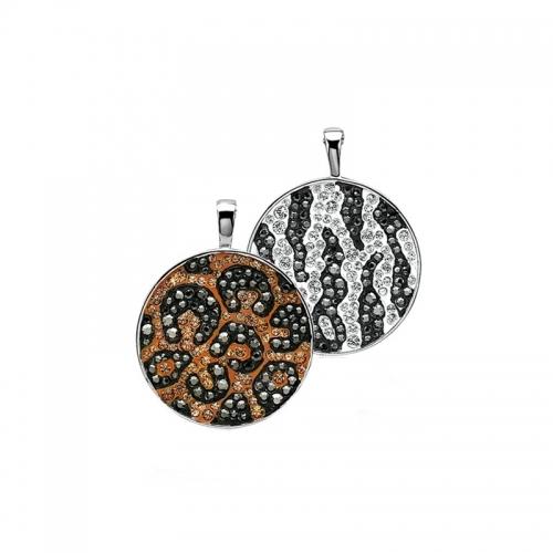 Zinzi Leopard and Zebra Swarovski Crystal Pendant