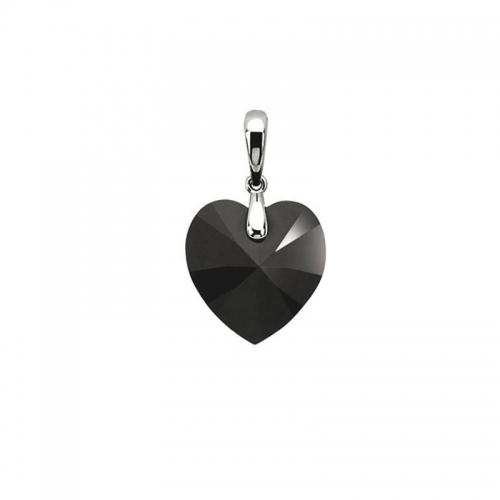 Zinzi Black Swarovski Heart Pendant