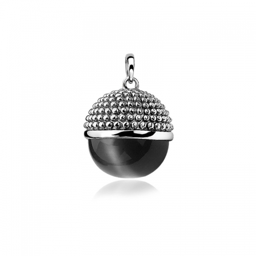 Zinzi Silver and Black Ball Pendant