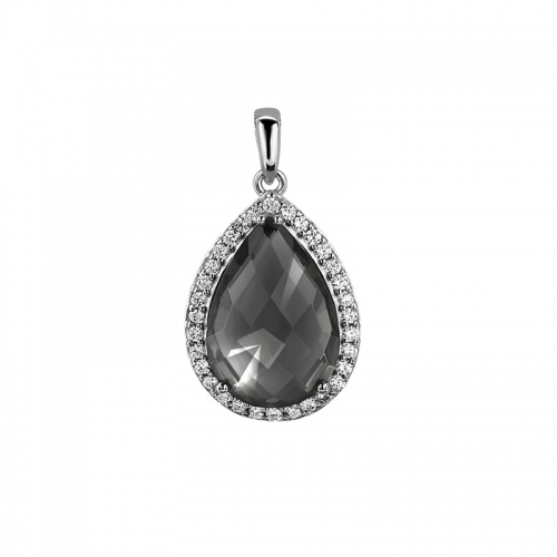 Zinzi Silver with Dark Grey Tear Pendant