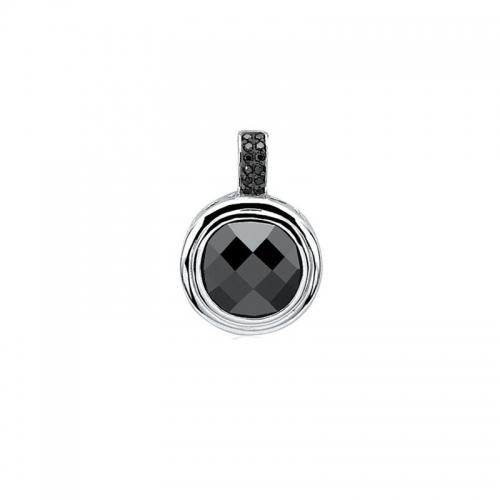 Zinzi Round Silver Pendant with Black Stone