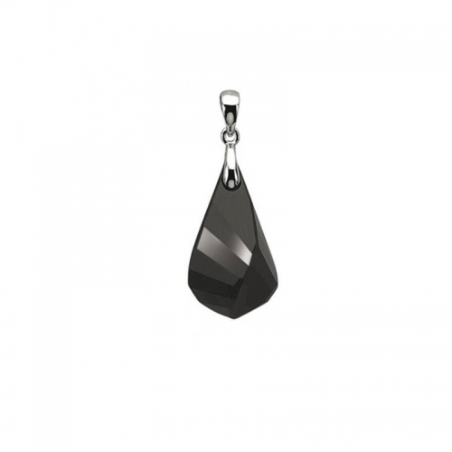 Zinzi Silver and Black Swarovski Crystal Icicle Pendant