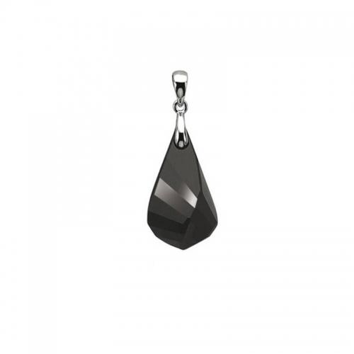 Zinzi Silver and Black Swarovski Crystal Icicle Pendant