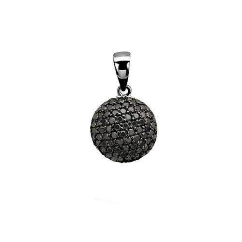 Zinzi Black Zirconia and Silver Round Pave Pendant