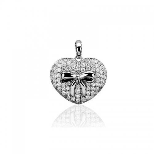 Zinzi Heart White Zirconia Pendant
