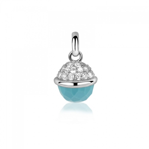 Zinzi Turquoise and Silver Sphere Pendant