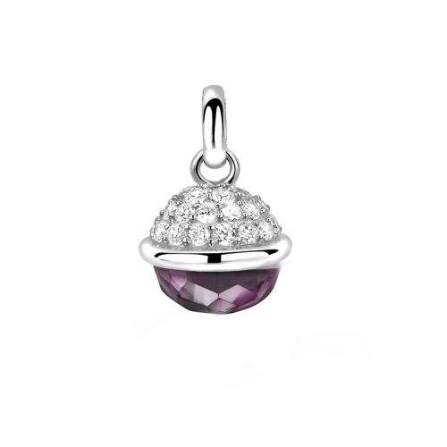 Zinzi Purple and Silver Sphere Pendant