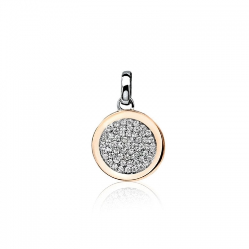Zinzi Rose Gold Plated Disc Pendant