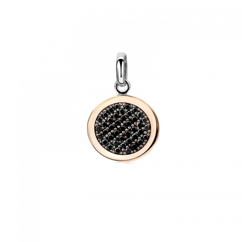 Zinzi Rose Gold Plated Disc Pendant with Black Zirconia